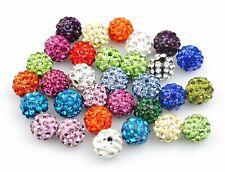 Lot de 10 Perles Style Shamballa Strass Cristal 10 mm - couleur au choix