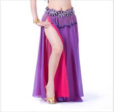 Two Side Slit Two Colors Chiffon Long Skirt Split Skirt Belly Dance Costumes NEW
