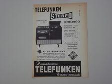 advertising Pubblicità 1959 TELEFUNKEN STEREO