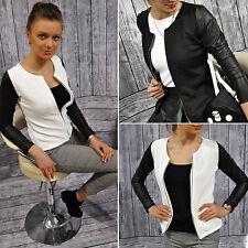 Damen Klassischer Kurzjacke Bikerjacke Reißverschluss Blazer Mantel Damenjacken