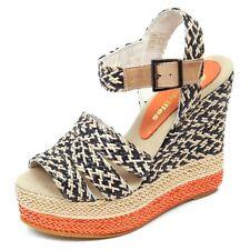 D2614 sandalo donna beige/nero ESPADRILLES zeppa rafia shoe woman