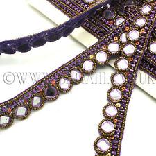 Espejo púrpura del Rhinestone recorte, ribete, ajuste, Lentejuelas, perlas, piedras de Adorno,