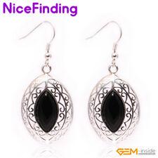 Fashion Drop Dangle Hook Stone Bohemia Decorate Earrings Silver Plated Jewelry