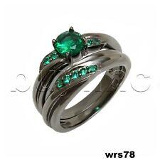 Round Green Sapphires On Black Rhodium Engagement Ring & Wedding Band Set
