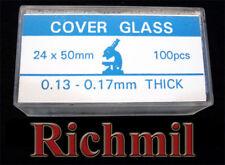 100 New Glass 24x50mm Coverslips for Microscope Slides