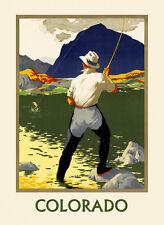 Fishing Colorado River Landscape Travel Tourism Vintage Poster Repro FREE S/H