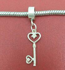 21st Key charm Sterling Silver solid 925 21 birthday clipon european clip on