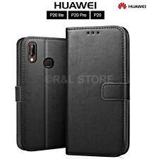 COVER per Huawei P20/Lite/Pro CUSTODIA PORTAFOGLIO PELLE NERO Slot Porta Tessere
