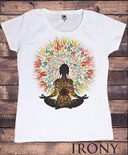 Women's White T-Shirt Yoga Chakra Meditation Peace Spirit India Om Print TS569