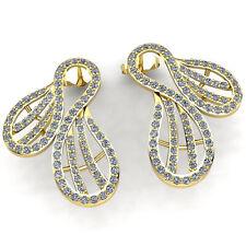 Genuine 1ct Round Cut Diamond Ladies Unique Twisted Stud Earrings 18K Gold