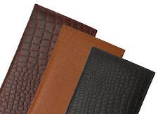 Genuine Leather Plain Checkbook Cover Holder Thin Wallet Men Women Croc Croco