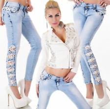 Women's Side Lace Bow Cut-out Stretch Denim Jeans - XS / S / M / L / XL