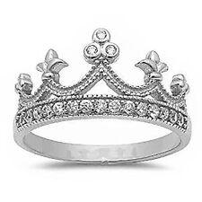Sterling Silver .925 Women's Royalty CZ Royal Crown Fashion Ring Size 4-10