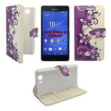 Hülle Violett und creme Blumen Design PU Leder Etui für Sony Xperia Z3 Compact