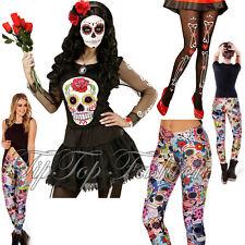 Women's les morts mexicain dia de los muertos top t-shirt et legging robe fantaisie