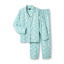 Joe Boxer 2-Piece Flannel Pajama /Sleepwear Set - Green Sweet Dreams/Clouds