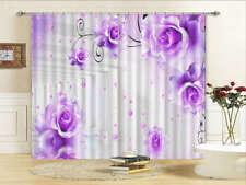 Purple Flowers Drop 3D Curtains Blockout Photo Printing Curtains Drape Fabric