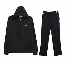 LACOSTE Men's Fashion Sports Hooded Jacket +Jogging Pants Tracksuit 2pcs Black
