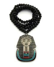 Egyptian God King Tut Pharaoh Metal Pendant Wood Bead Chain Necklace Jewelry