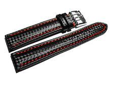 Bracelet de montre - Carbone - noir - couture rouge 18,20,22,24 mm NEUF