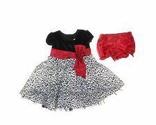 Jona Michelle Baby Girls' Black/White Cap Sleeve Animal Print Party Velvet Dress