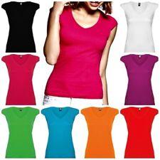 Camiseta mujer entallada de manga corta, con escote en V. 100% Algodón
