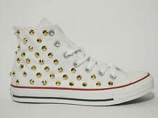 Converse all star Hi borchie oro scarpe donna uomo bianco artigianali