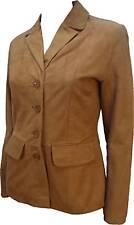 UNICORN LONDON Donna Blazer In Pelle Marrone Chiaro Giacca Camoscio ' ':H2