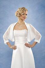 Bolero Brautjacke Hochzeit Chiffon Satin  weiss o. ivory Gr.36,38,40,42,44 NEU!
