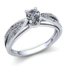 Natural 0.5carat Diamante Redondo Mujer de Aro Anillo Solitario Compromiso 18k
