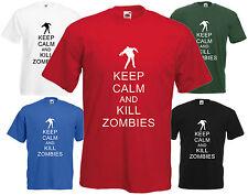 Keep Calm & Kill Zombies T-shirt Funny Xmas Gift Joke Present Dead Cool Tee Top