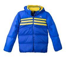 Adidas Kinder Daunenjacke Winter Jacke mit abnehmbarer Kapuze blau/gelb 104-128