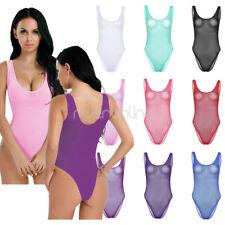 One-piece Women Lingerie Swimwear Mesh High Cut Bodysuit Stretchy Leotard Thong