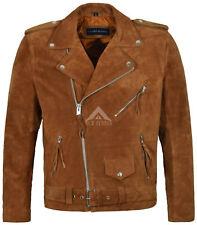 Mens Leather Suede BRANDO TAN Motorcycle Biker Style 100% REAL JACKET MBF FRINGE