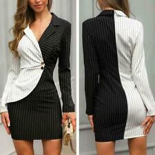 Asymmetric Black White Women's Dress Business Work Bodycon OL Polka Dot Stripe