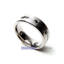 Accents Kingdom 8mm Mens Black Titanium Magnetic SilverTone Cross Cz Ring Band