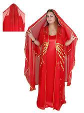 Dreiteiliges Abaya Set Festkleid im orientalischen Stil, in rot-gold,  ABY00195