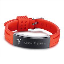 Medical Alert ID Men's Bracelet Wristband Silicone Band ID Name Free Engraving