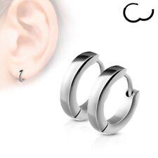 PAIR of Stainless Steel silver Small Plain Dome Hoop Huggie Earrings Men & Women