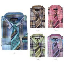 Men's Plaid Checks Design Dress Shirt w/ Matching Tie & Hanky Set #627