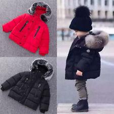 UK Kids Baby Girls Boys Coat Parka Winter Warm Outwear Hooded Down Jacket Coats