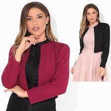 Womens Bolero Shrug Ruched Puff Sleeve Open Blazer Evening Party Jacket