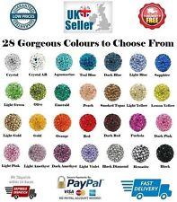 10mm Shamballa Beads 1 5 10 20 50 Pave Rhinestone Crystal Clay Round Disco Balls