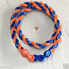 Phiten Tornado Necklace: Bright Orange with Royal Blue