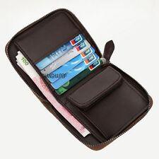 Men Canvas Zip Around Wallet Vintage Multifunction Coin Purse Card Holder Brown