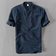Men Linen Short Sleeve Casual T-shirt Top Shirt Loose Ethnic Stand Up Collar Hot