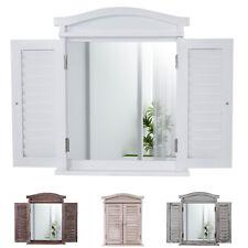 Wandspiegel Spiegelfenster mit Fensterläden 53x42x5cm, Shabby-Look/weiß lackiert