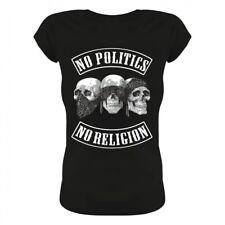 Ragazza Donne Maglietta Donna no Politics no religione politica anti Anonymous stato