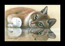 Ginger Cat On The Glass Print by I Garmashova