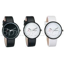 Men's Women's Fashion Leather Straps Calendar Display Quartz Analog Wrist Watch
